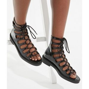 NWT UO Gladiator Lace Up Sandals Patent Black